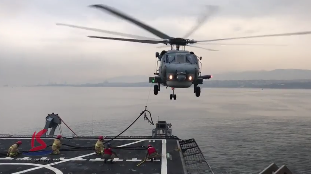 TCG ALEMDAR (A-582) Helo Landing & HIFR operation videos