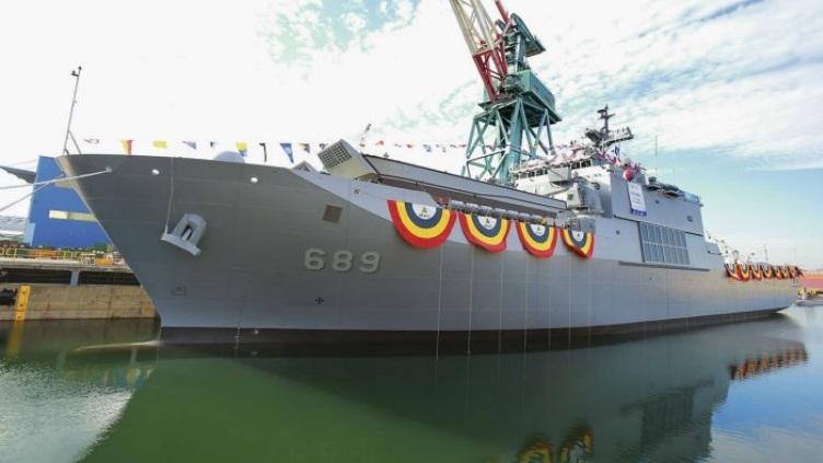 HHI has launched 4th LST at Ulsan Shipyard