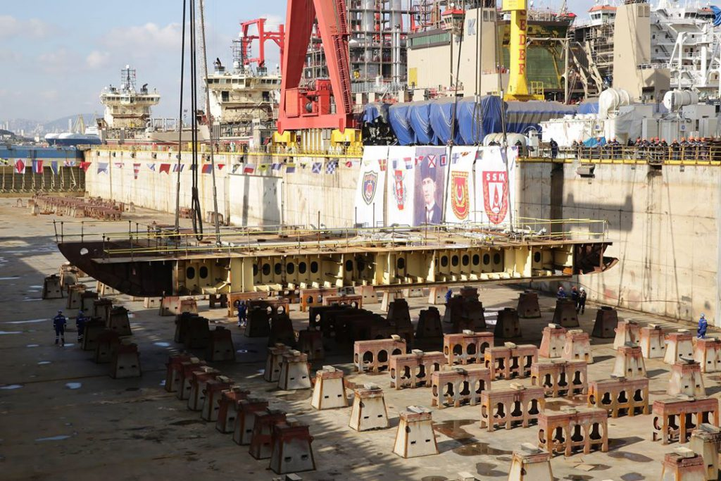 The keel of the future LHD of Turkish Navy has been laid at Sedef Shipyard in İstanbul